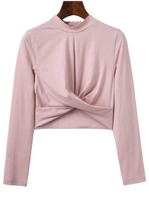 women Cropped High Collar T-Shirt - PINK M Mobile