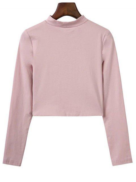 T-shirt court à col haut - ROSE PÂLE M Mobile