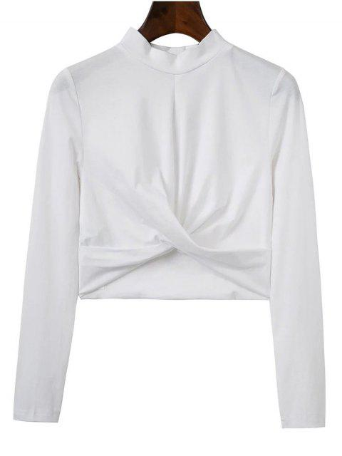 buy Cropped High Collar T-Shirt - WHITE S Mobile