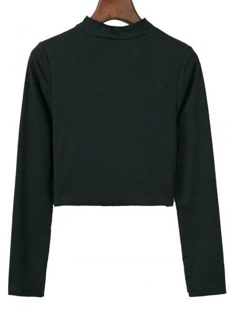 hot Cropped High Collar T-Shirt - BLACK S Mobile