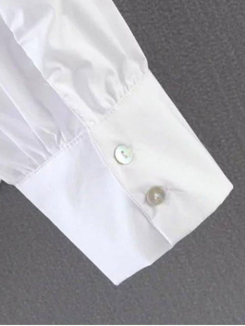 shops Pleated Stand Neck Shirt - SKY BLUE M Mobile
