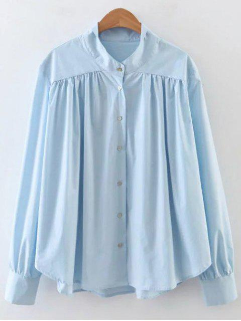 shop Pleated Stand Neck Shirt - SKY BLUE L Mobile