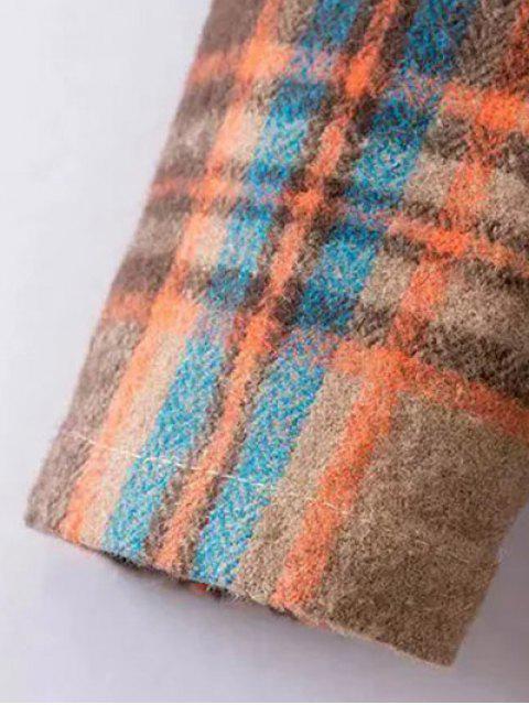 latest Plaid Wool Blend Shift Dress - COLORMIX S Mobile