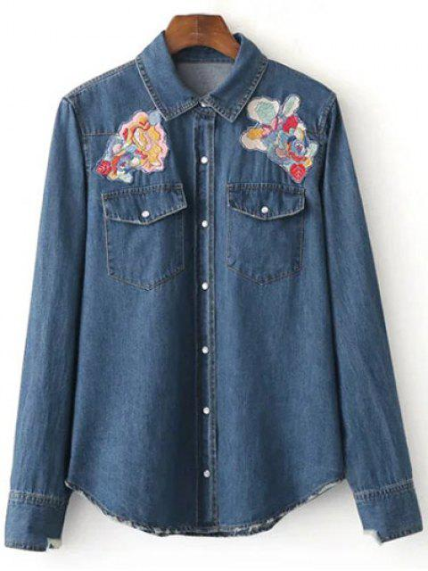 trendy Floral Patched Denim Shirt - DEEP BLUE L Mobile