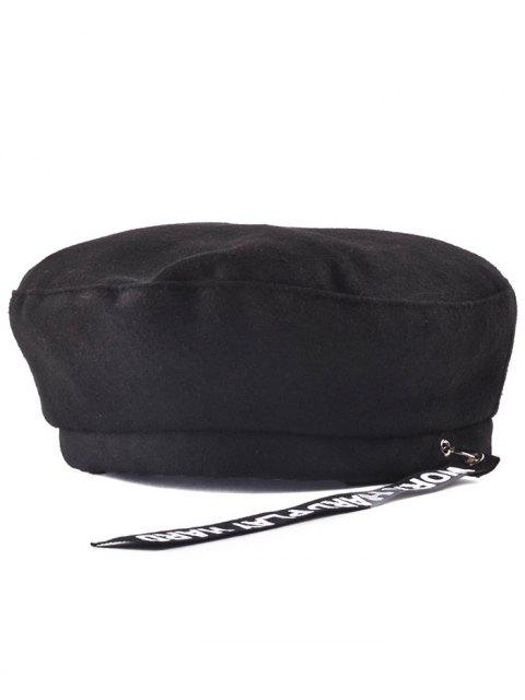 chic Casual Letters Strap Flat Top Beret Cap - BLACK  Mobile