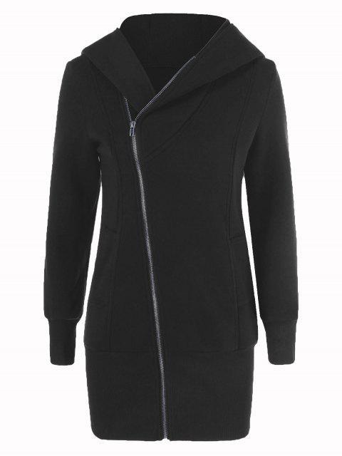 buy Inclined Zip Up Long Hoodie - BLACK M Mobile
