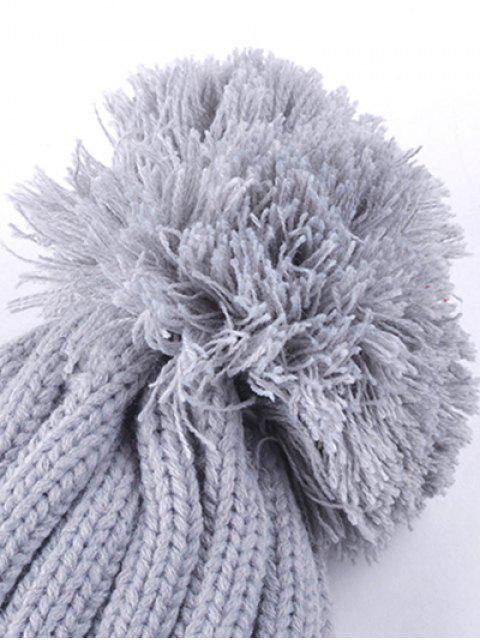 new Casual Warm Big Ball Love Letter Knitted Beanie - GRAY  Mobile