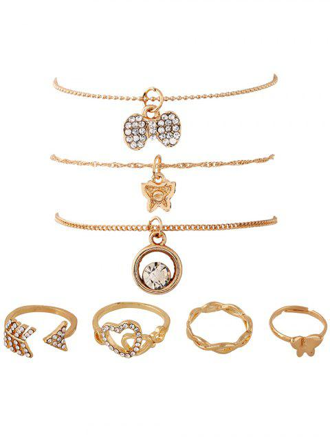 7PCS Heart Strass vergoldet Schmuck-Set - Golden  Mobile
