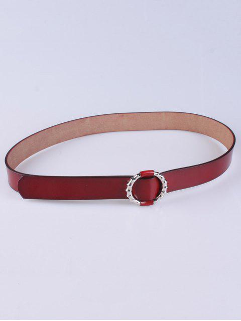 shops Trousers Wear Round Buckle Belt - DEEP RED  Mobile