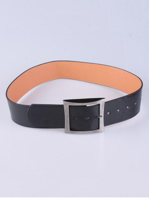 trendy Coat Wear Square Buckle Belt - BLACK  Mobile