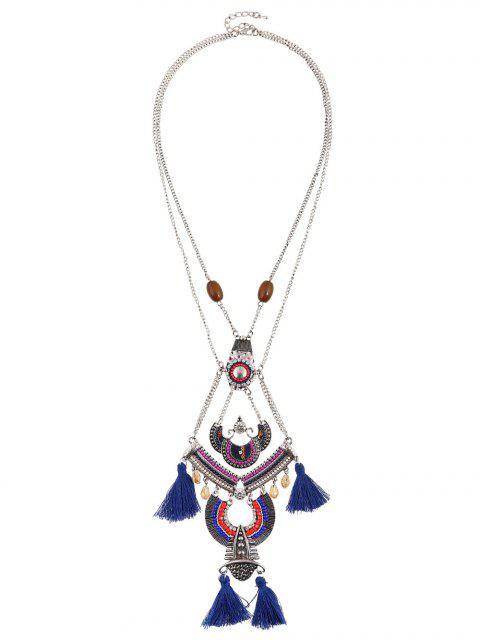 buy Bohemian Rhinestone Beaded Geometric Tassel Necklace - SAPPHIRE BLUE  Mobile