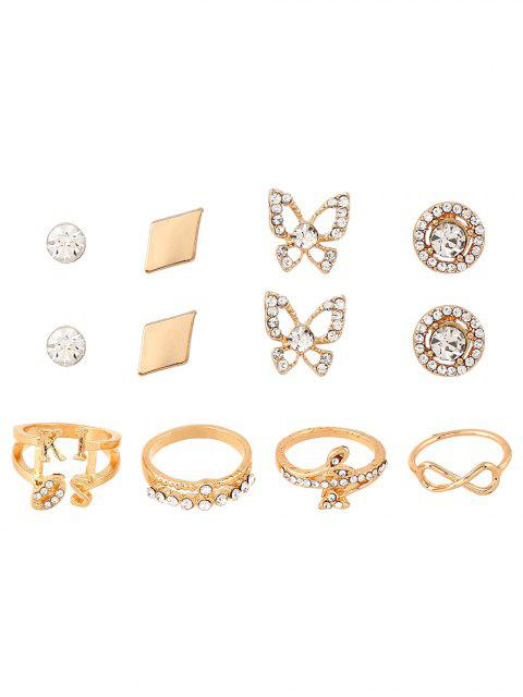 latest Infinite Leaves Rhinestone Rings and Earrings -   Mobile