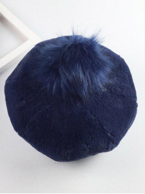Casual Épaissir Fur Pompom Boule Beret - Bleu Cadette  Mobile