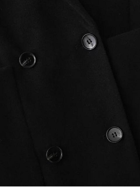 fancy Double Breasted Wool Blend Midi Coat - BLACK M Mobile