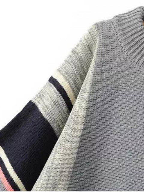 sale Stripe Dolman Poncho Sweater - GRAY ONE SIZE Mobile