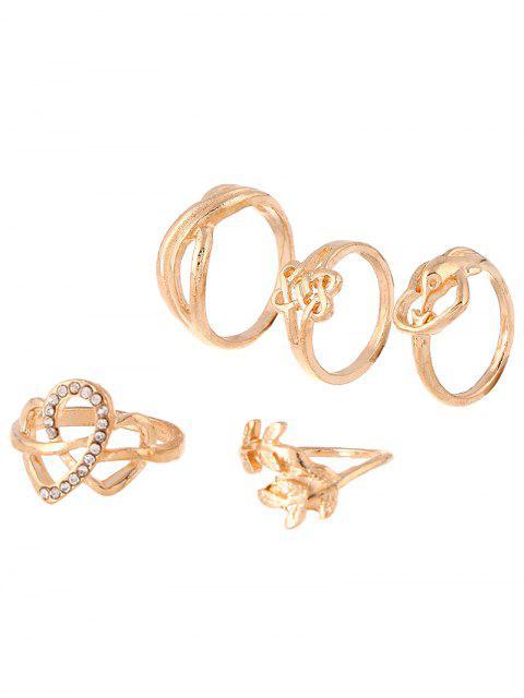 chic Rhinestone Infinite Heart Ring Set -   Mobile