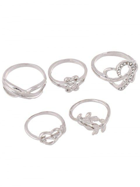 fancy Rhinestone Infinite Heart Ring Set -   Mobile
