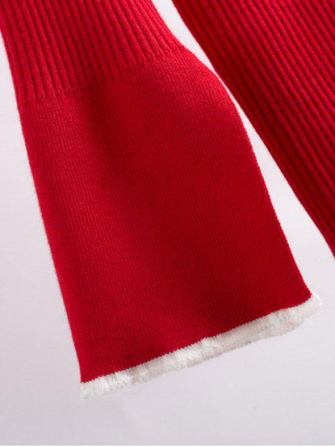 chic Contrast Trim High Collar Jumper - RED L Mobile