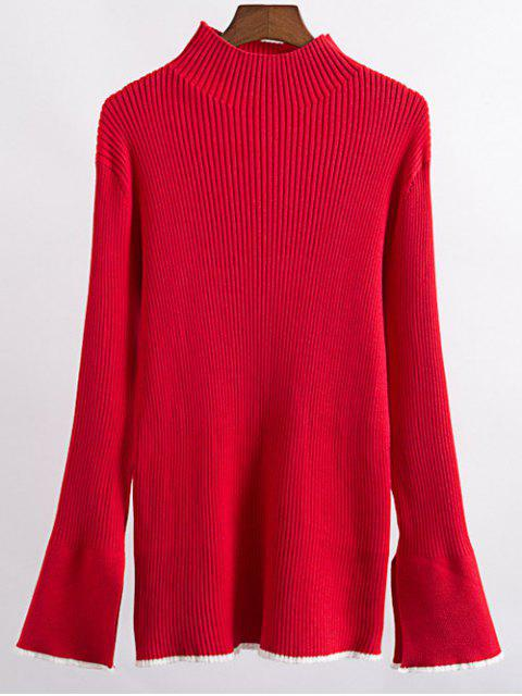 fancy Contrast Trim High Collar Jumper - RED M Mobile