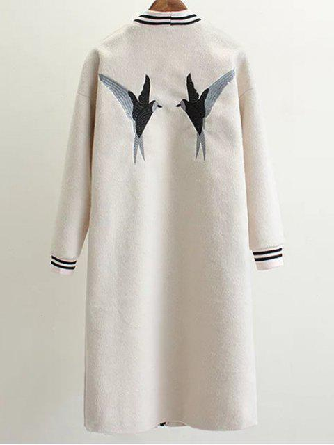 outfit Collarless Bird Embroidered Coat - WHITE M Mobile
