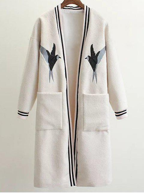 hot Collarless Bird Embroidered Coat - WHITE L Mobile