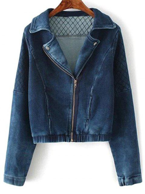 unique Argyle Zippered Denim Jacket - DEEP BLUE S Mobile