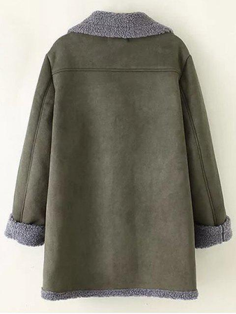 ladies Zip-Up Faux Suede Coat - ARMY GREEN 2XL Mobile