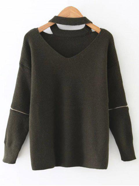 women's Zipped Sleeve Choker Jumper - ARMY GREEN ONE SIZE Mobile