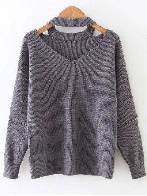 lady Zipped Sleeve Choker Jumper - GRAY ONE SIZE Mobile
