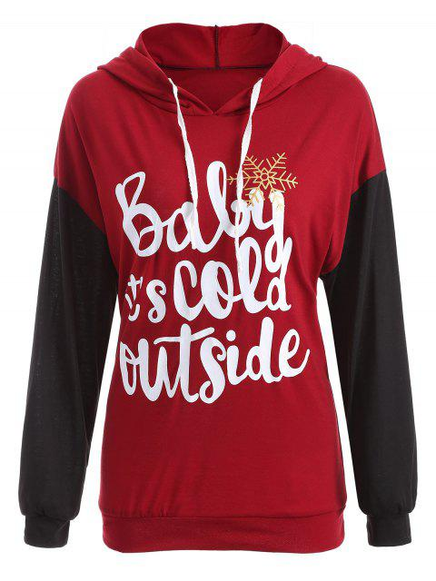 shop Christmas Snowflake Drawstring Hoodie - DEEP RED L Mobile
