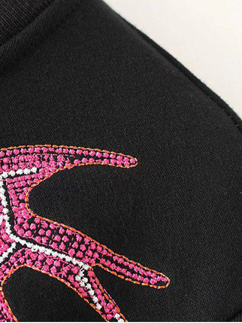 trendy Swallow Embroidered Sweatshirt - BLACK M Mobile