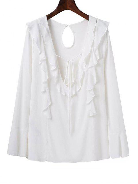 outfit Plunging Neck Frilly Blouse - WHITE M Mobile
