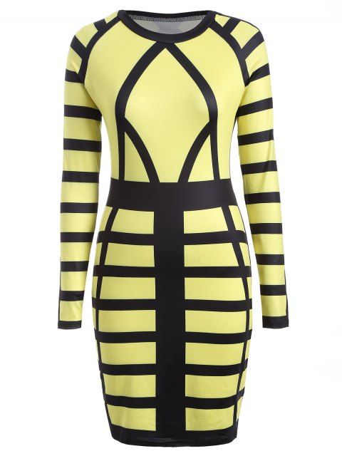 latest Check Print Long Sleeve Bodycon Dress - YELLOW XL Mobile