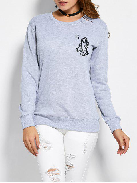 fashion Pullover Crewneck Sweatshirt - GRAY M Mobile