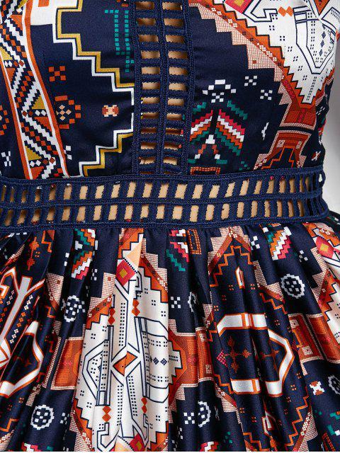 rétro Robe  creux et maxi à col V imprimé à motifs - Multicolore M Mobile