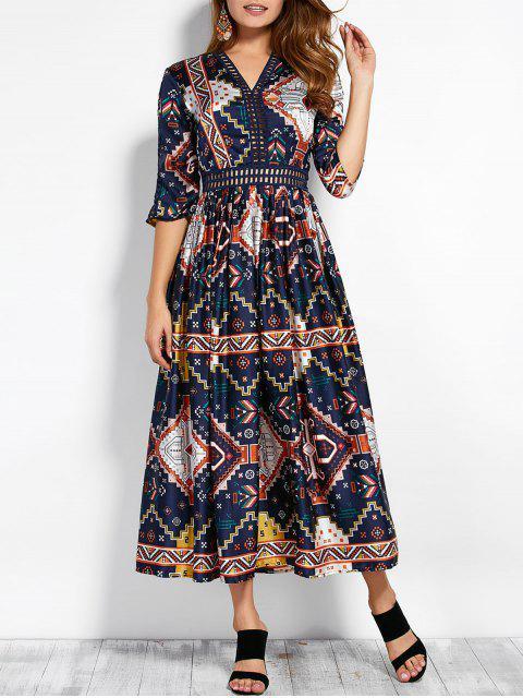 shop V Neck Hollow Out Retro Print Maxi Dress - COLORMIX M Mobile