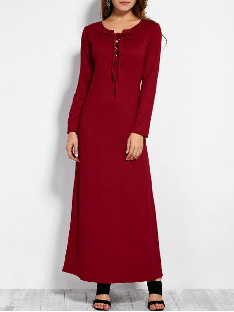 sale Lace Up Long Sleeve Maxi Dress - RED M Mobile
