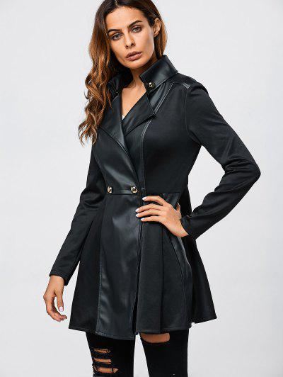 Faux Leather Splicing Fit And Flare Coat - Black L