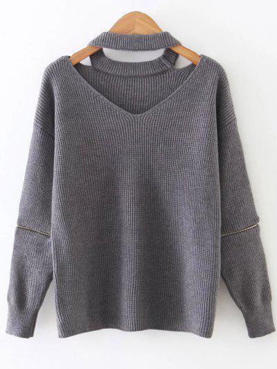 Zipped Sleeve Choker Jumper - Gray