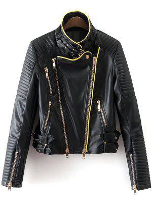 Cremallera Y Hebilla De Cuero Chaqueta De Imitación De Diseño - Negro L