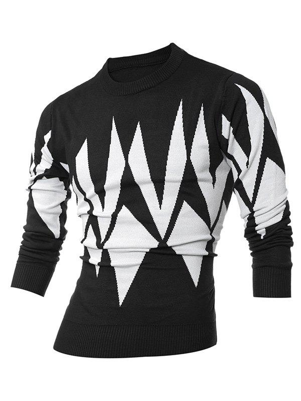 Ribbed Geometric Pattern Crew Neck Sweater 200182802
