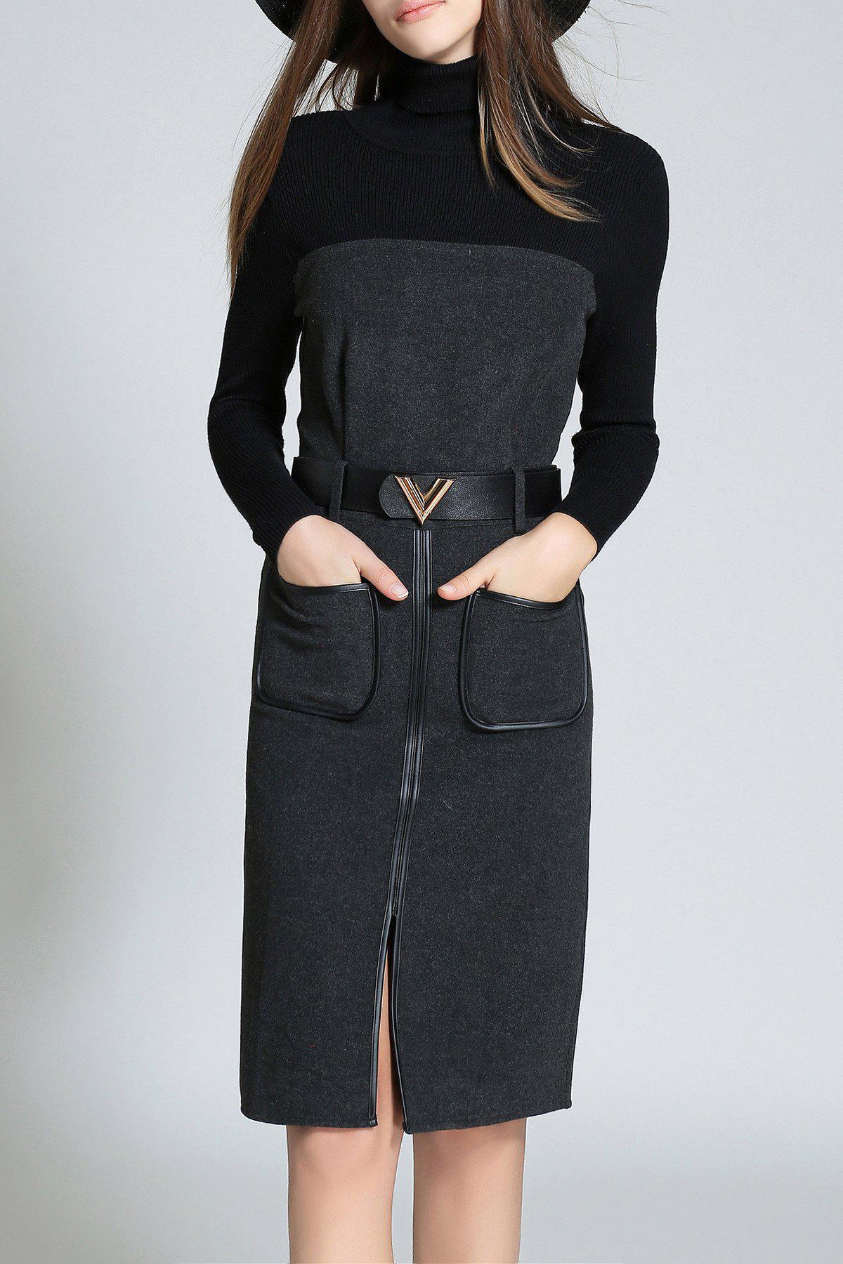 High Neck Long Sleeve Front Slit Sweater Dress