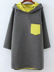 Color Block Rabbit Design Hoodie - Gray Xl