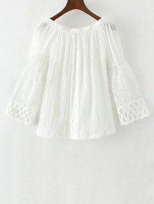 Lace Spliced Off The Shoulder Blouse - White L