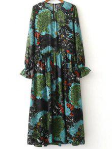 Printed Ruffled Cuffs Dress With Cami Dress - M