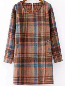 Plaid Wool Blend Shift Dress - S