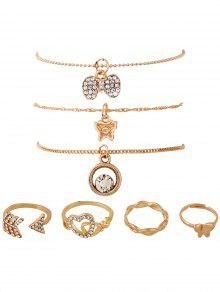 7PCS Heart Rhinestone Gold Plated Jewelry Set - Golden