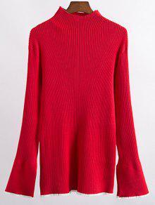Contrast Trim High Collar Jumper - Red M