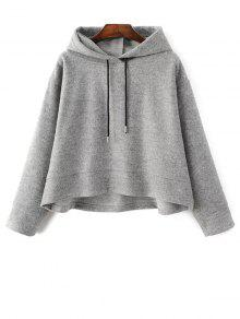Oversized Drawstring Hoodie - Gray L