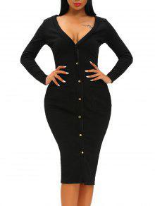 فستان ميدي ضيق بجيب وزر طويلة الأكمام - أسود M